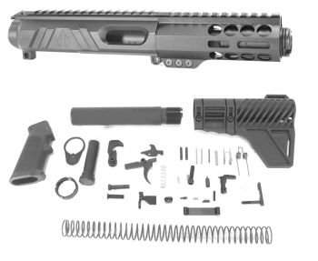 5 inch AR-15 Non Reciprocating Side Charging 45 ACP Pistol Caliber Melonite Upper w/CAN Complete Kit