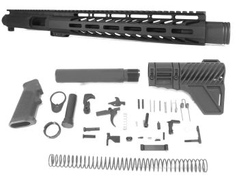 11 inch AR-15 9mm Pistol Caliber Melonite Upper w/Can Complete Kit
