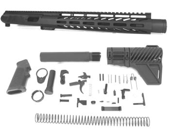 11 inch AR-15 Non Reciprocating Side Charging 9mm Pistol Caliber Melonite Upper w/Can Complete Kit
