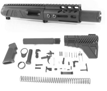 4 inch AR-15 Non Reciprocating Side Charging 45 ACP Pistol Caliber Melonite Upper w/CAN Complete Kit