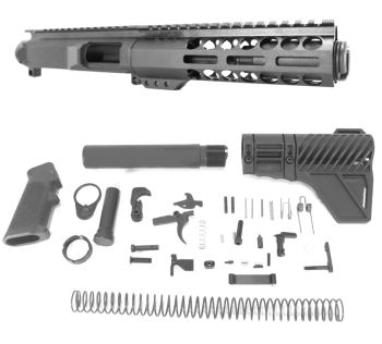 5 inch AR-15 45 ACP Pistol Caliber Melonite Upper w/CAN Complete Kit