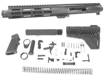 7.5 inch AR-15 LEFT HANDED AR-15 Non Reciprocating Side Charging 300 Blackout Pistol Melonite Upper w/Can Complete Kit
