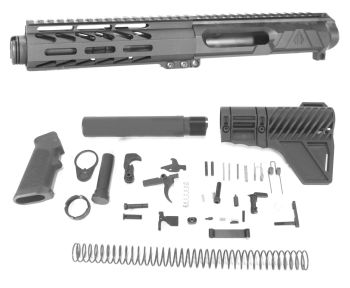 5 inch LEFT HANDED AR-15 NR Side Charging 5.56 NATO Melonite Upper w/Can Kit