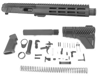 8 inch AR-15 Non Reciprocating Side Charging 9mm Pistol Caliber Melonite Upper w/Can Complete Kit
