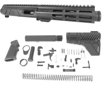 5 inch AR-15 Non Reciprocating Side Charging 9mm Pistol Caliber Melonite Upper w/Can Complete Kit