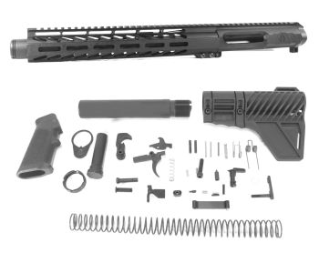 10.5 inch AR-15 LEFT HANDED AR-15 Non Reciprocating Side Charging 300 Blackout Pistol Melonite Upper w/Can Complete Kit