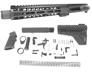 8.5 inch AR-15 LEFT HANDED AR-15 Non Reciprocating Side Charging 300 Blackout Upper w/Can Complete kit